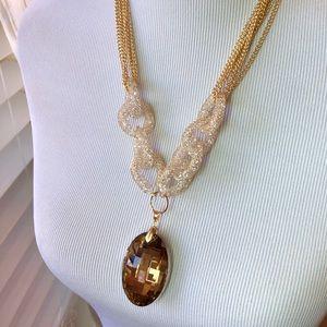 Jewelry - Champagne Glass & White Austrian Chrystal Necklace